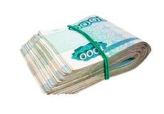 Сложено тысячн счетам русской рублевки стоковые фотографии rf