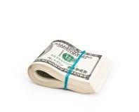 Сложено 100 долларов Стоковые Фотографии RF