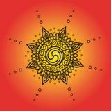 Сложный чертеж плана эмблемы солнца иллюстрация штока