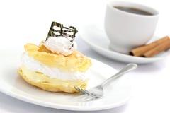 слойка cream десерта кофе торта Стоковое фото RF