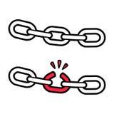 Сломанная цепь, слабое звено иллюстрация вектора