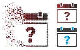 Сломанный значок страницы календаря полутонового изображения пиксела неизвестный иллюстрация штока