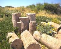 сломленная куча колонок римская Стоковые Фотографии RF