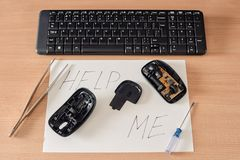 сломленная мышь компьютера Стоковая Фотография