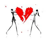сломленное Валентайн сердца девушок дня иллюстрация штока