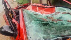 Сломленное стекло автомобиля от дерева после шторма сток-видео