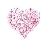 сломленное стеклянное сердце Стоковое Изображение RF