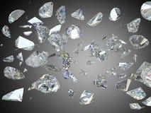 Сломленные и разрушенные большие диаманты или драгоценные камни иллюстрация штока