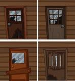 Сломленные окна и двери бесплатная иллюстрация