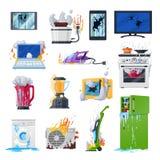Сломленные приборы, поврежденные домом оборудование и устройства бесплатная иллюстрация