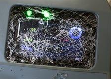 Сломленные стеклянные билеты Validator на поезде в Афина стоковое фото rf