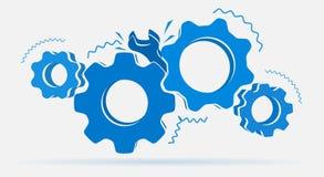 Сломленные шестерни с ключем в иллюстрации сини цвета иллюстрация вектора