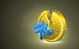 Сломленные юани Китая Иллюстрация 3d золотой монетки красочная Полигональное дело вектора, деньги, неустойчивые финансы, авария иллюстрация штока
