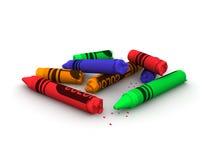сломленные crayons Стоковая Фотография