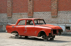 сломленный автомобиль вниз Стоковое Фото