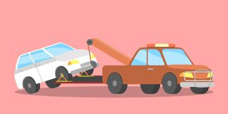 Сломленный белый автомобиль на эвакуаторе иллюстрация вектора