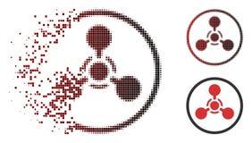 Сломленный значок химической войны агента нервно-паралитического действия полутонового изображения WMD Pixelated иллюстрация вектора