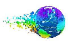 Сломленный разрушенный глобус земли планеты изолированный на белой предпосылке Мир радуги реалистический с частицами и твердыми ч иллюстрация штока