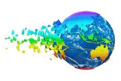 Сломленный разрушенный глобус земли планеты изолированный на белой предпосылке Мир радуги реалистический с частицами и твердыми ч иллюстрация вектора