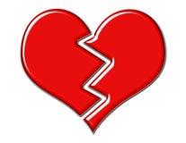 сломленный треснутый красный цвет сердца Стоковые Изображения