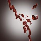 сломленный уменьшая красный цвет диаграммы экономии стеклянный Стоковые Изображения RF