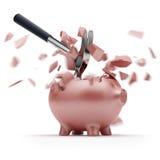 Сломленный Piggy банк с молотком Стоковое Изображение RF
