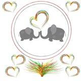 Слоны любовников с сердцами в рамке Стоковая Фотография