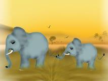 слон младенца его мать Стоковые Изображения RF