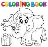 Слон рождества книжка-раскраски Стоковое Изображение