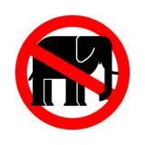 Слон стопа Животное запрета африканское Красный запрещающий дорожный знак Дэн иллюстрация штока
