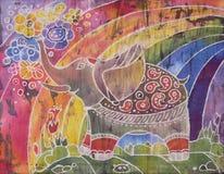 Слон с цветками Стоковое Изображение RF