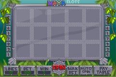 Слоты вектора ацтекские Полное меню графического интерфейса пользователя и полный набор кнопок для классического творения игр каз иллюстрация штока
