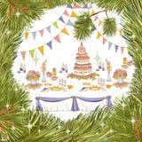 Служение торта Нового Года партии большого иллюстрация штока