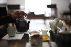 служя установленный чай Стоковые Фото