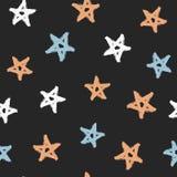 Случайно разбрасываемые звезды покрашенные с грубой щеткой цветастая картина безшовная иллюстрация вектора