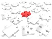 Случайно части головоломки в красной и белом иллюстрация 3d иллюстрация вектора