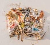 Случайные seashells с песком и удя линией стоковое фото
