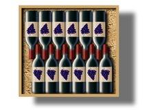 Случай 12 бутылок красного вина показан в этом изображении бесплатная иллюстрация