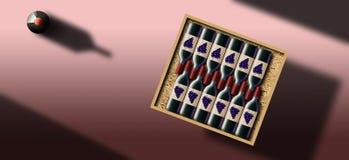 Случай 12 бутылок красного вина показан в этом изображении иллюстрация вектора