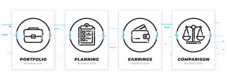 Случай, задача, бумажник, масштабы Тема дела glitched черные установленные значки Масштабируемые объекты вектора на прозрачной пр бесплатная иллюстрация