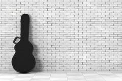 Случай кожи черноты акустической гитары трудный перевод 3d иллюстрация штока