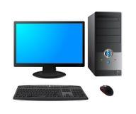 Случай компьютера с монитором, клавиатурой и мышью Стоковое Изображение