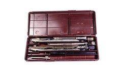 Случай чертежных инструментов изолированных на белизне Стоковое Фото