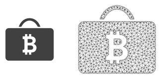 Случай Bitcoin сетки рамки провода вектора и плоский значок иллюстрация штока