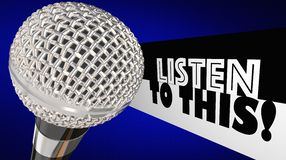 Слушайте к этой программе выставки речи внимания оплаты микрофона Стоковое фото RF