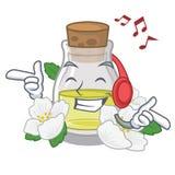 Слушая масло жасмина музыки в форме мультфильма иллюстрация штока