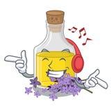 Слушая масло лаванды музыки в форме характера иллюстрация штока