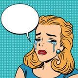 Смайлики девушки выкрика разрывов Emoji ретро Стоковая Фотография