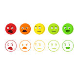 Смайлики обратной связи vector значки, концепция emoji рейтинга удовлетворенности иллюстрация вектора