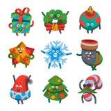 Смайлики установили значки для счастливой темы Нового Года Стоковые Изображения